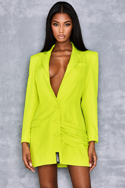 High Flyer Acid Yellow Tux Dress