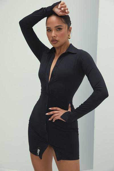 Marquis Black Long Sleeved Mini Dress