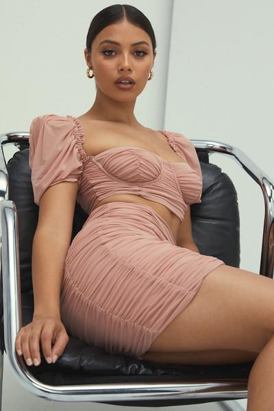 Love Letter Blush Ruched Mini Skirt