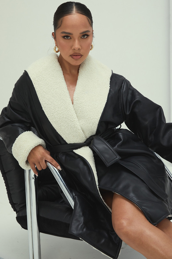 Sweet Life Black Vegan Shearling Wrap Coat