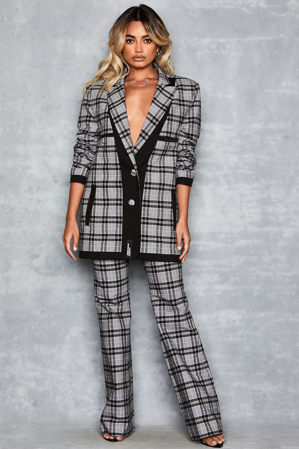 Token Grey Checkered Trousers