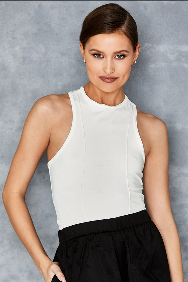 Summer White Racer Crop Top