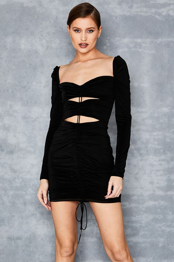 Neverland Black Ruched Mini Dress