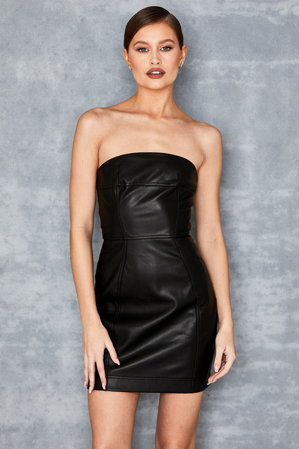Fire Away Black Vegan Leather Strapless Mini Dress