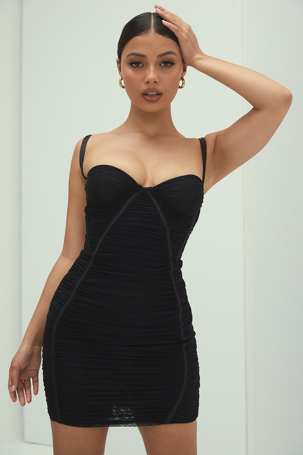 Heart And Soul Black Ruched Mini Dress
