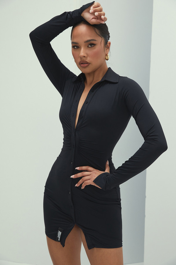 Marquis Black Long Sleeved Mini Dress