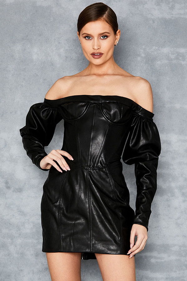 Personel Black Off Shoulder Vegan Leather Corset Dress