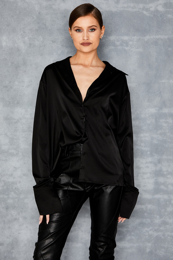 Sanctuary Black Satin Blouse