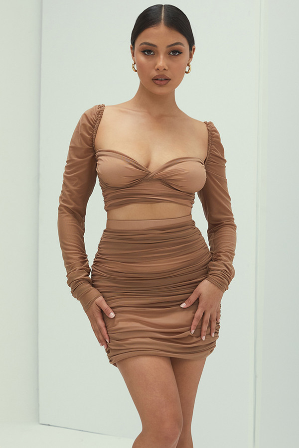 Lady Caramel Gathered Mesh Mini Skirt