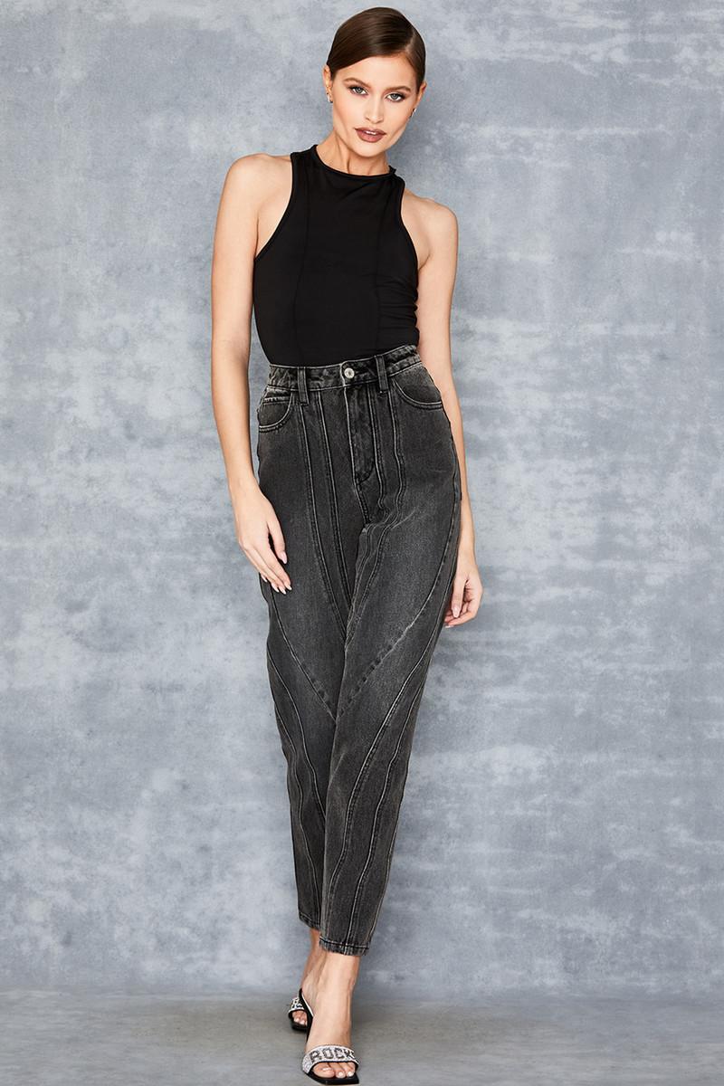 Dawn Black Denim Twisted Seam Jeans