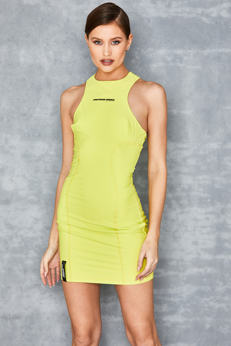 Angles Acid Yellow Racerback Mini Dress