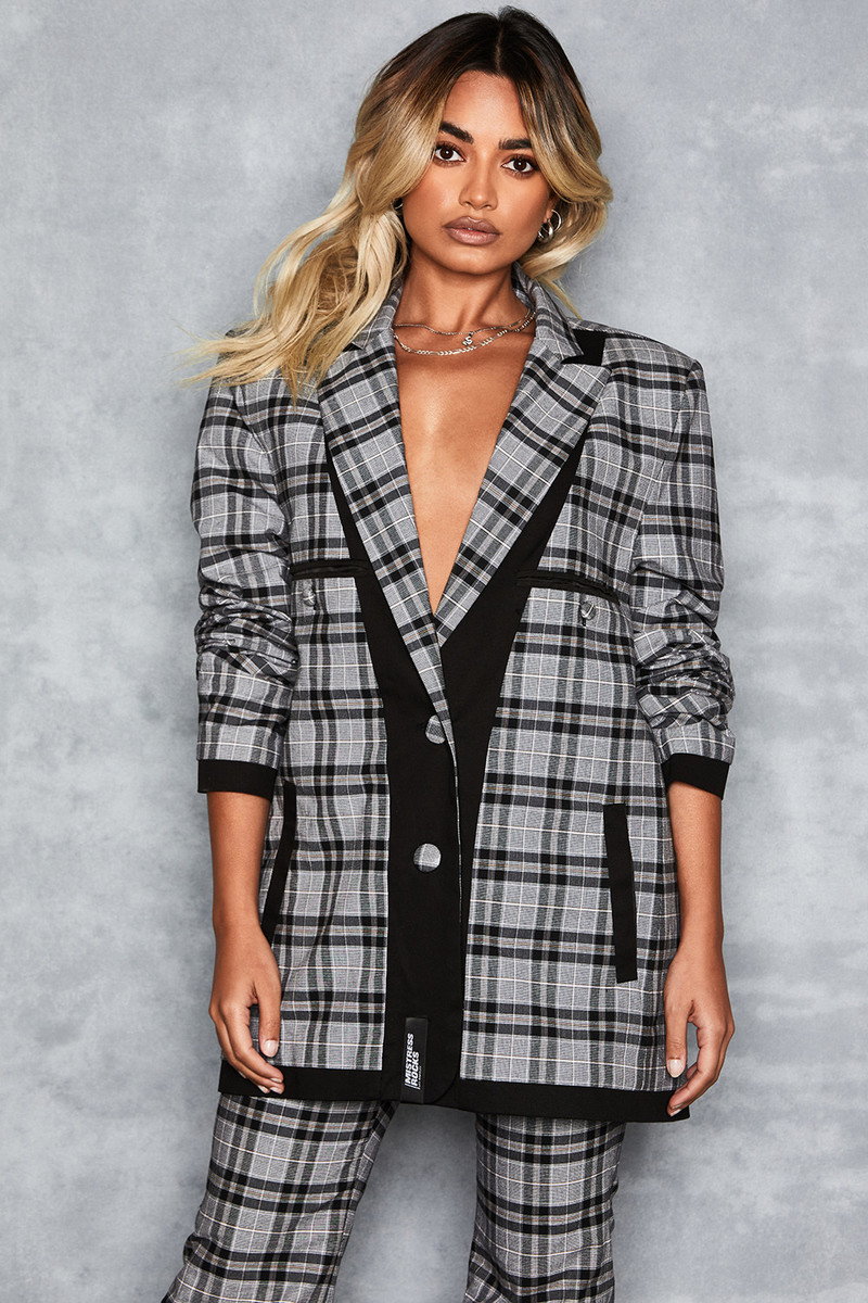 Artistry Grey Oversized Chequered Blazer