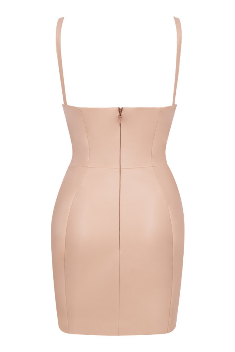 refresh dress in tan