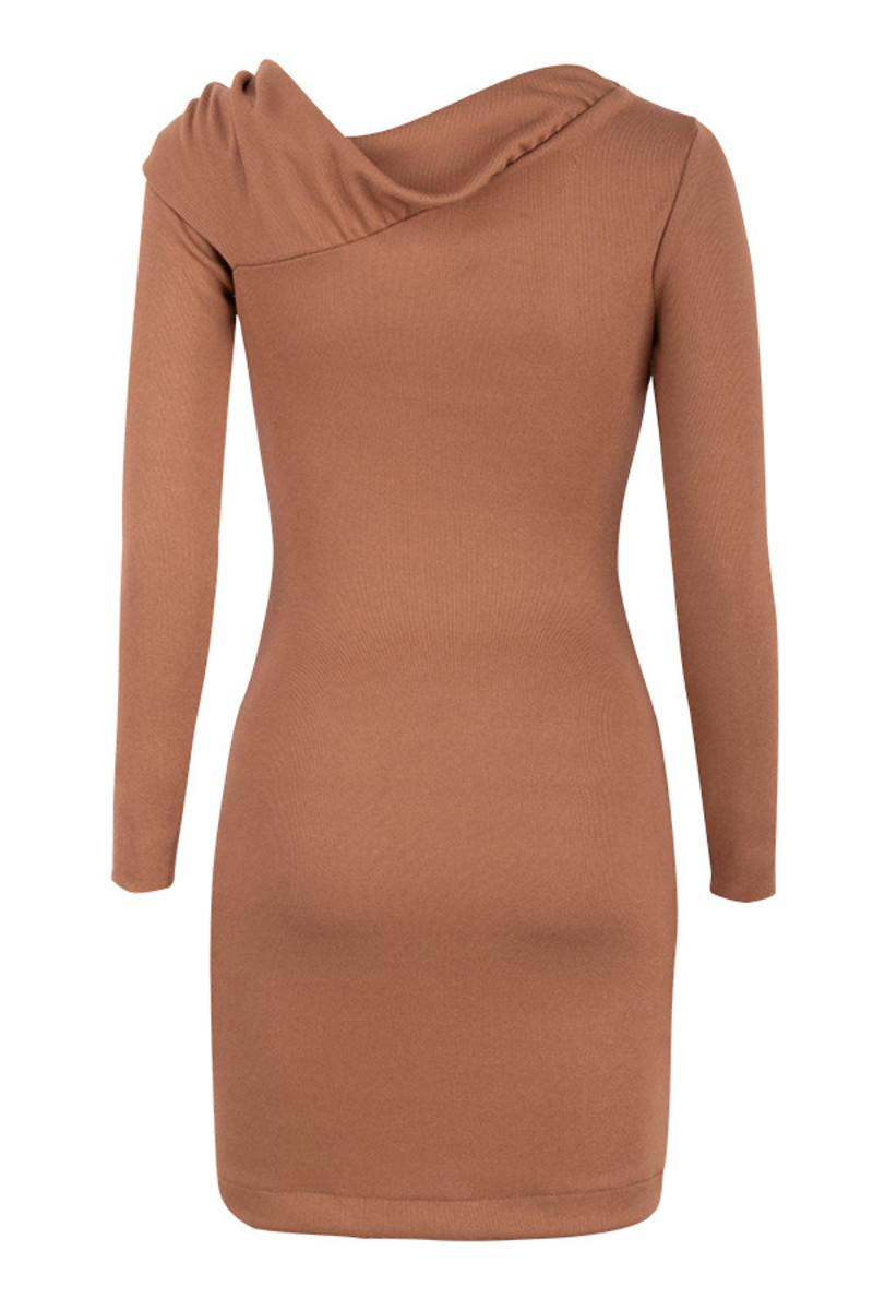 redo dress in tan