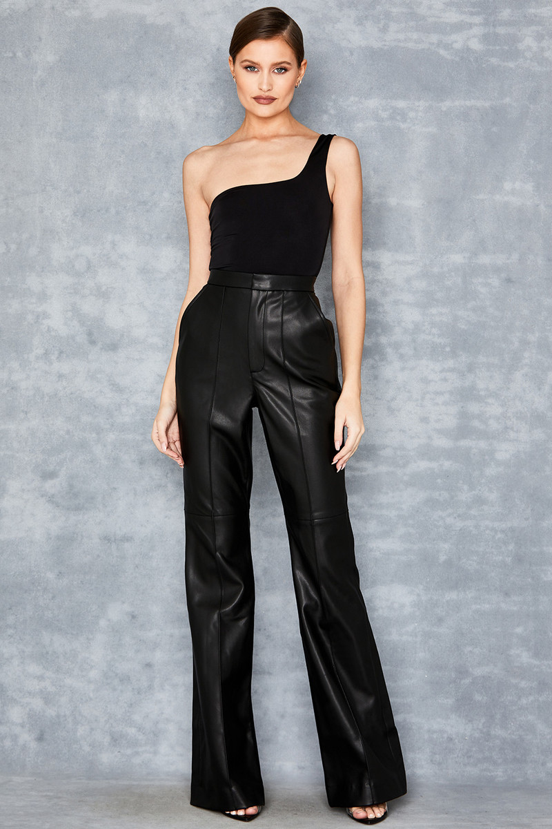Get Me Black Vegan Leather Tailored Trousers