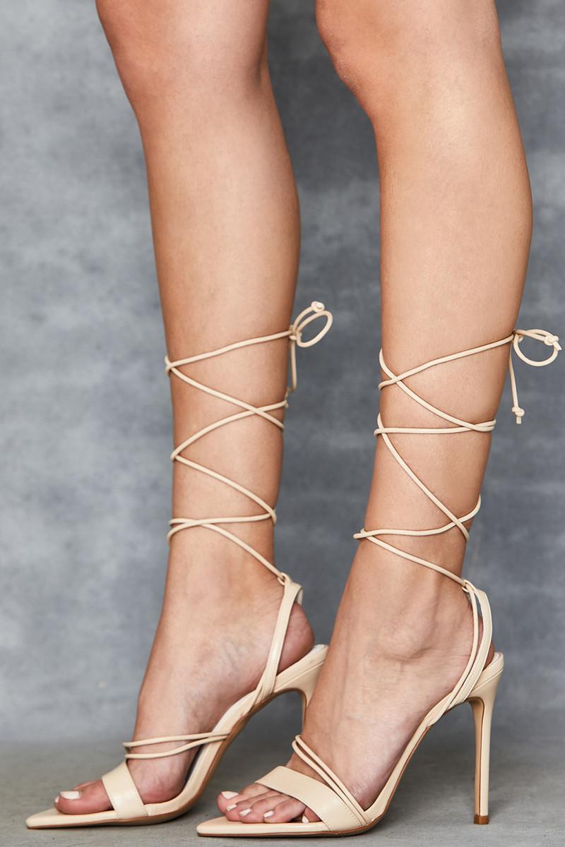 Mischief Beige Strappy Sandals