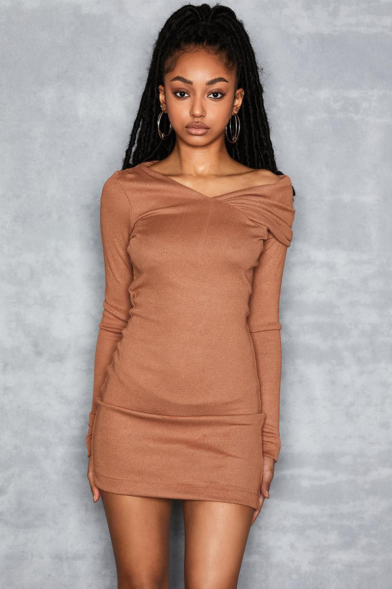 Re-Do Tan Draped Shoulder Knit Dress
