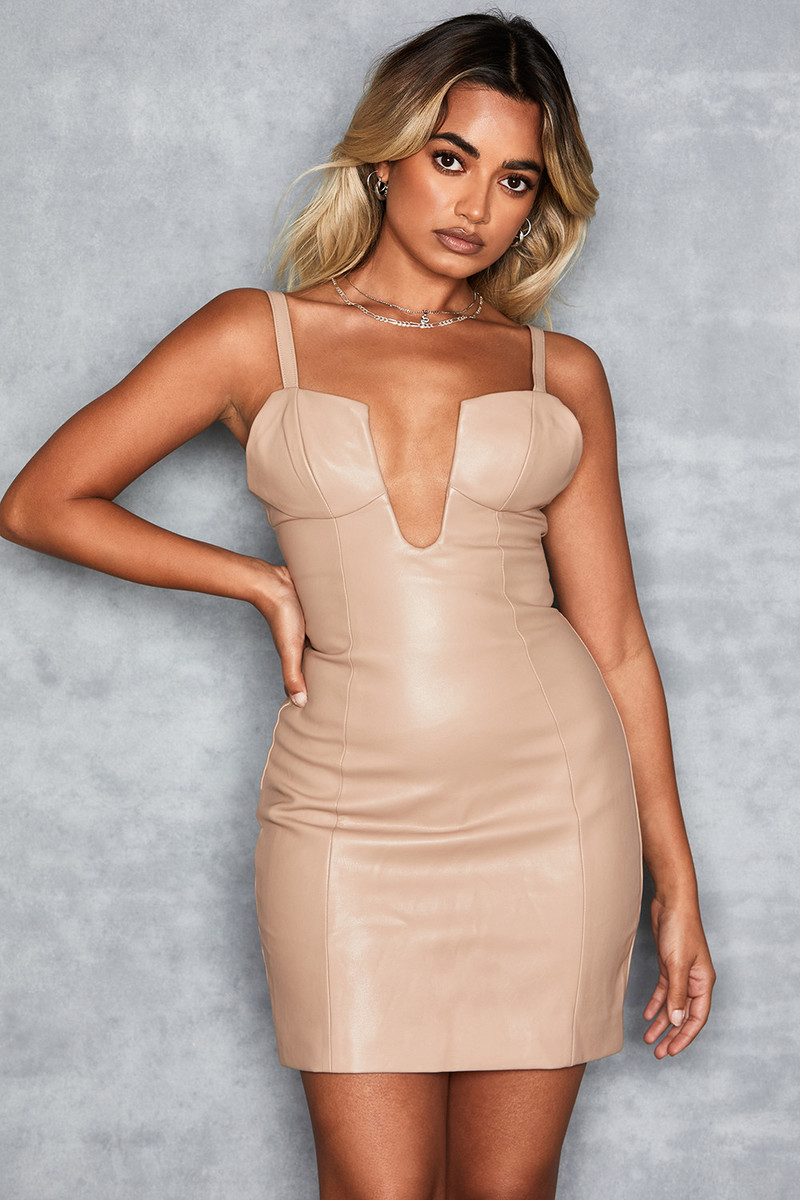 Refresh Biscuit Deep Plunge Mini Dress