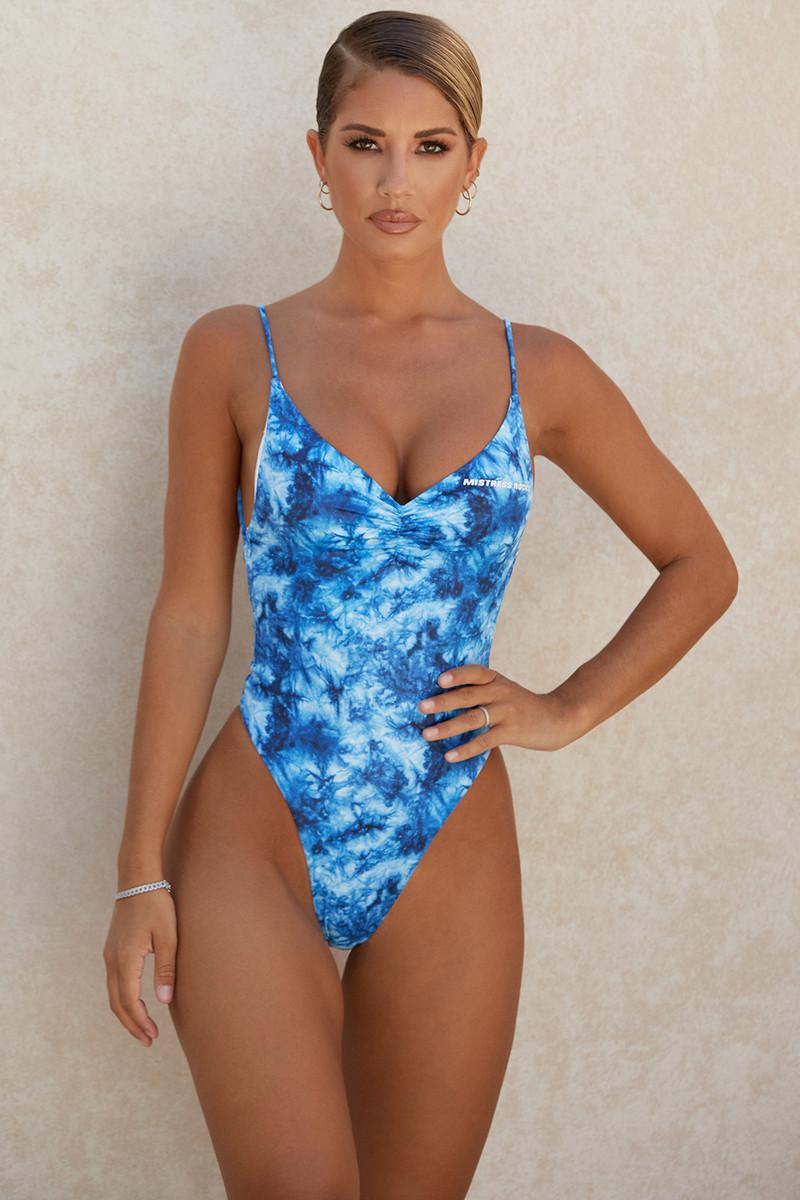 Seashore Blue Tie Dye One Piece Swimsuit