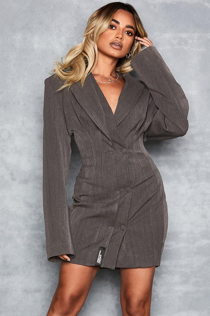Wanna Dance Grey Tailored Blazer Dress