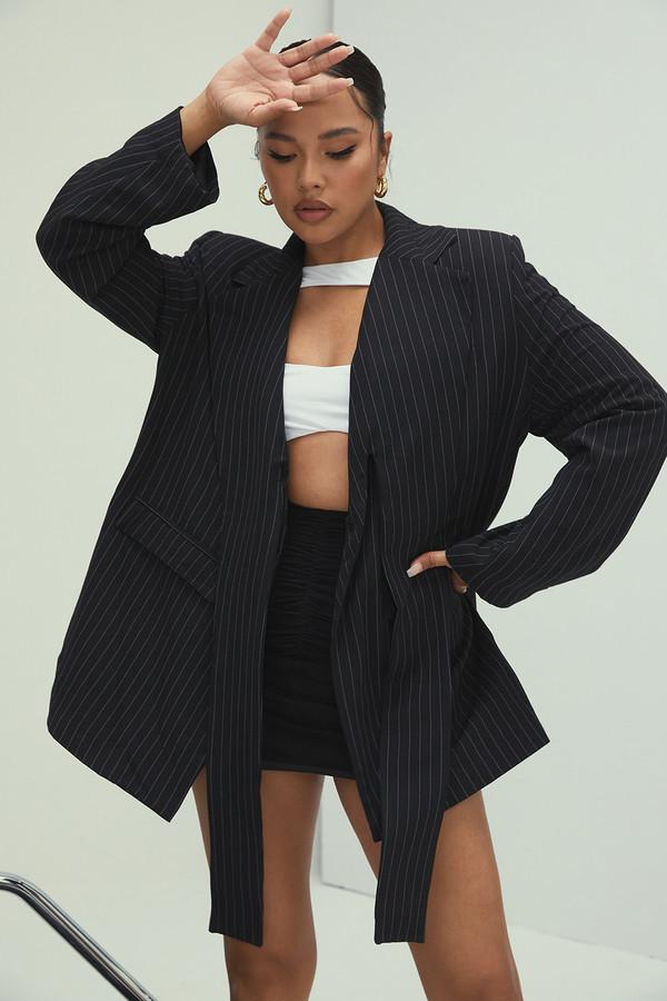 Tender Heart Black Pinstripe Loose Lapel Jacket