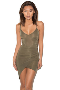 Karma Khaki Silky Jersey Draped Slip Dress