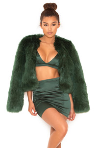 On Track Evergreen Faux Fur Jacket