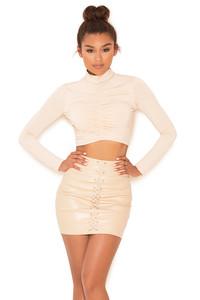 Purist Nude Vegan Leather Mini Skirt