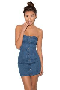 Sweetly Blue Denim Strapless Mini Dress