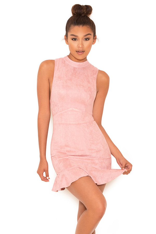 Boiling Point Dusky Pink Suedette Dress
