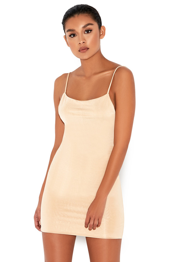 Cosmopolitan Nude Backless Mini Dress