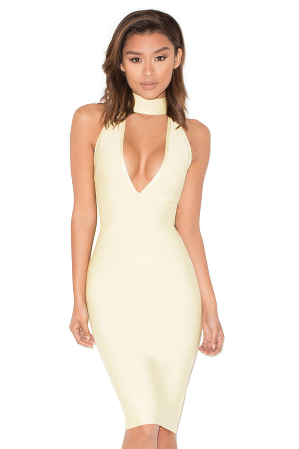 Firelight Pastel Yellow Halter Bandage Dress