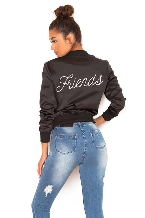 Friends Black Satin Bomber Jacket