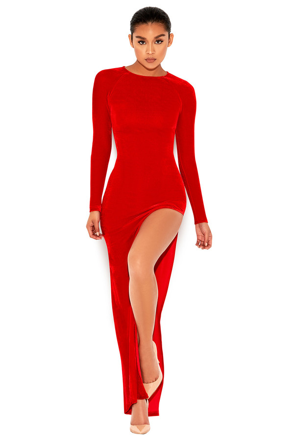 Hotspot Red Velvet Thigh Split Maxi Dress
