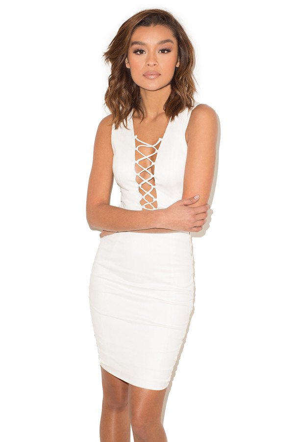 Liaison White Suedette Lace Up Dress