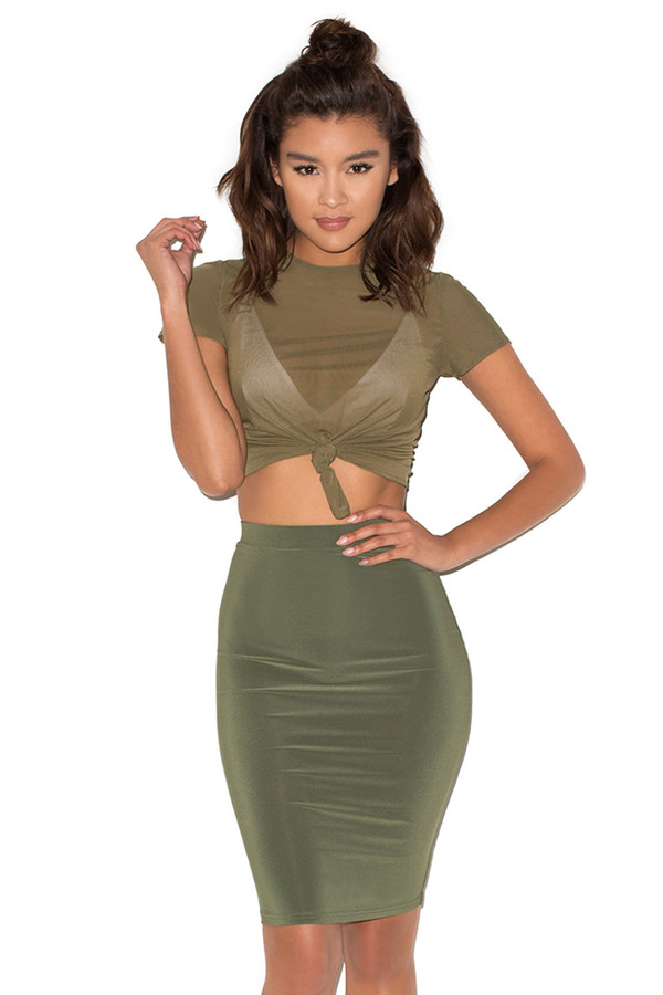 Look Twice Khaki Two Piece Jersey Set