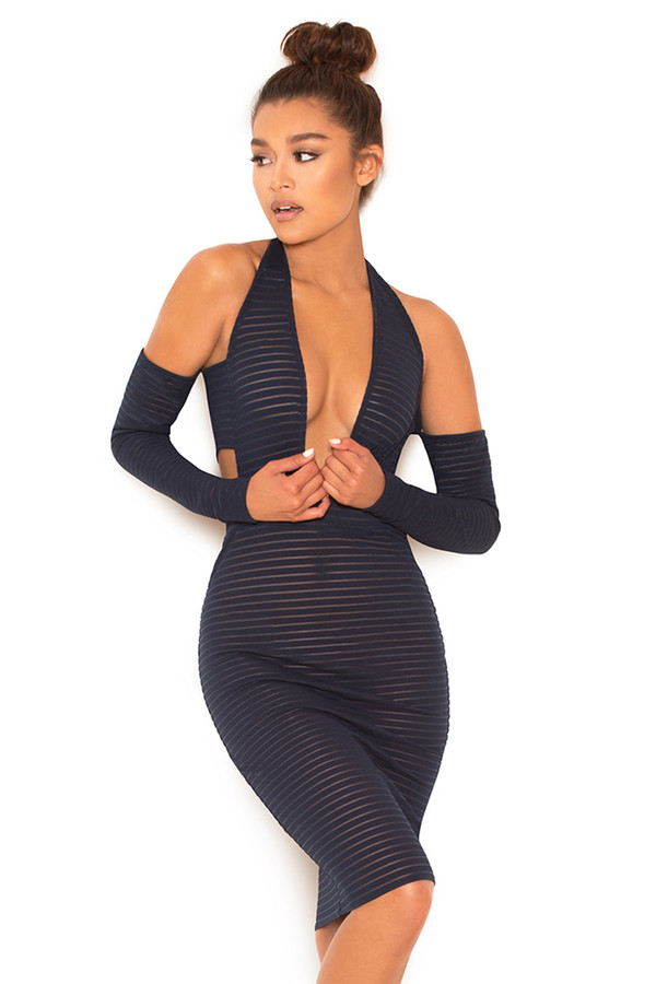 Montage Black Sheer Striped Cut Out Dress