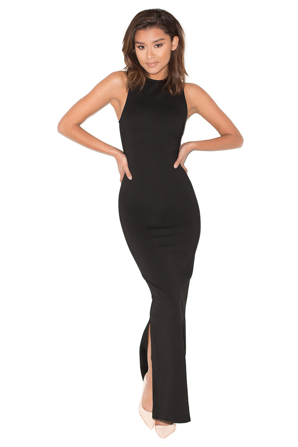 On Sleek Black Silky Jersey Racer Back Maxi Dress