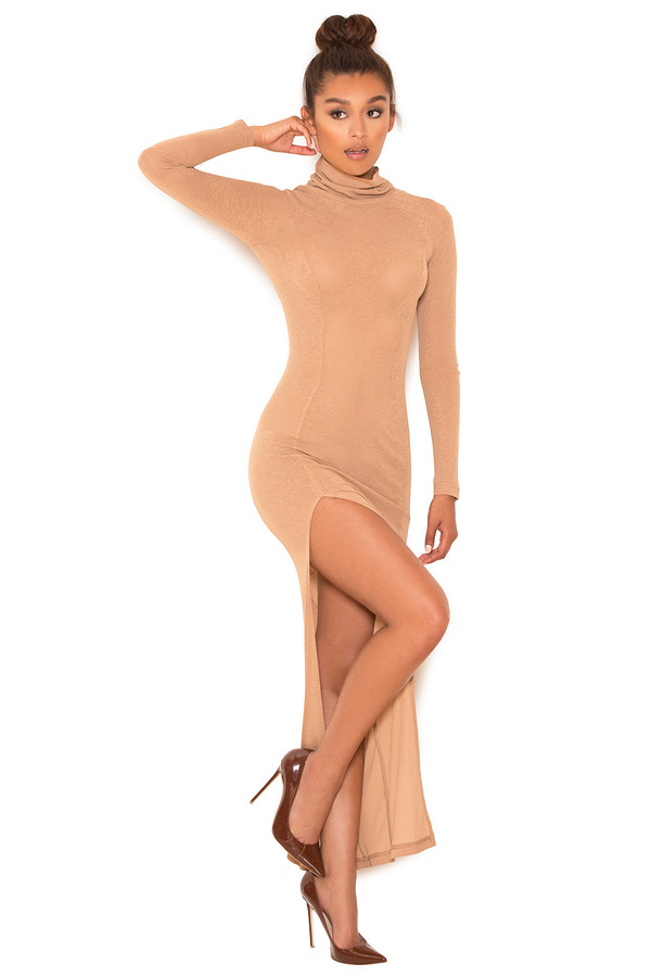 Overkill Camel Soft Knit Long Sleeve Maxi Dress