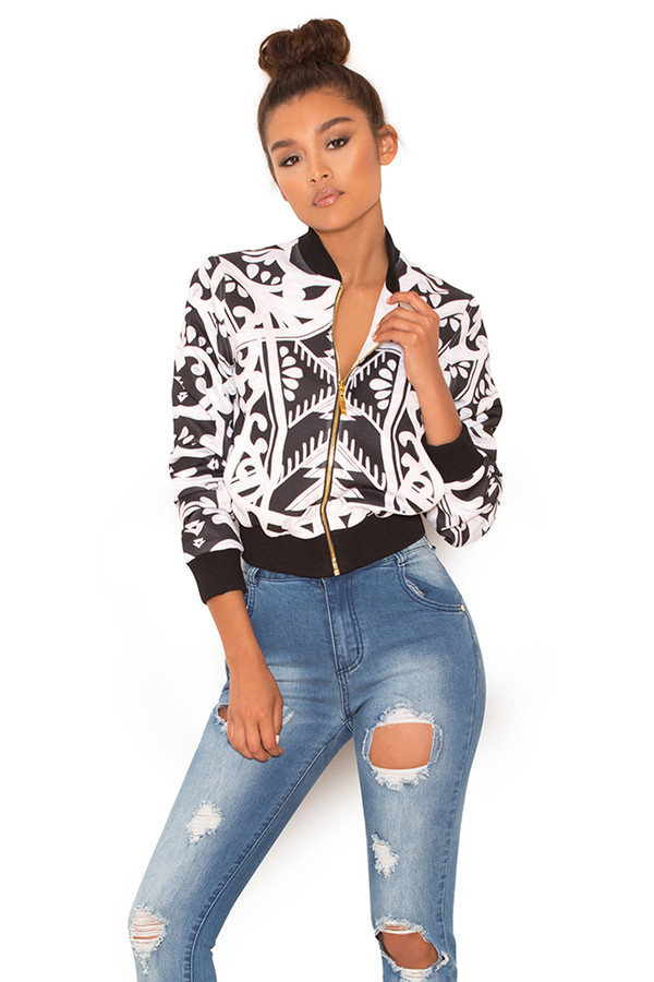 Sugar High Black and White Graphic Print Bomber Jacket