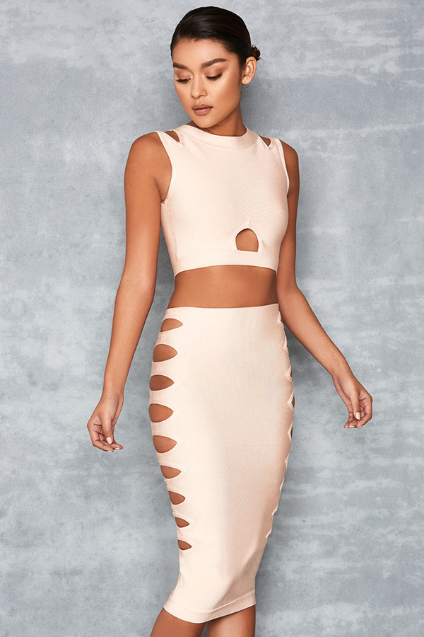 Take Em Down Nude Bandage Two Piece