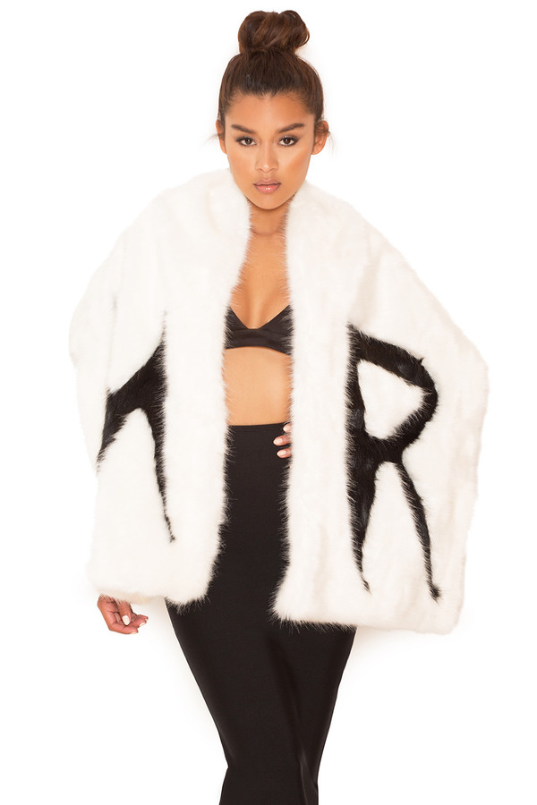 Throw Over White and Black Faux Fur Wrap