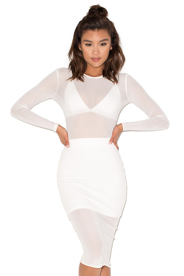 Trigger Happy White Sheer Mesh Dress with Top and Under Skirt