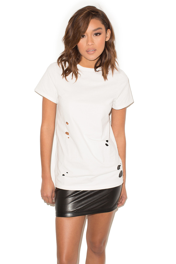 Trouble White Distressed Jersey Tshirt