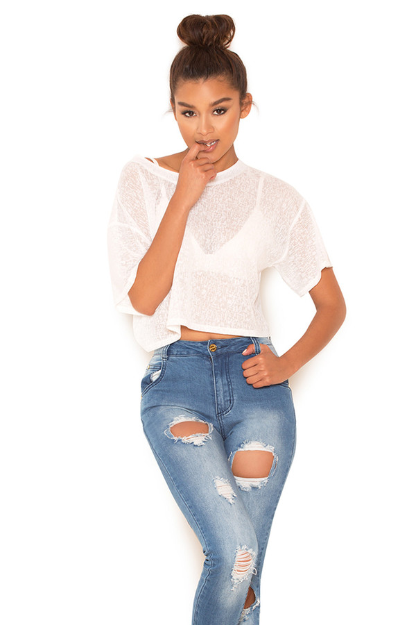 Vantage White Cropped Sheer T Shirt