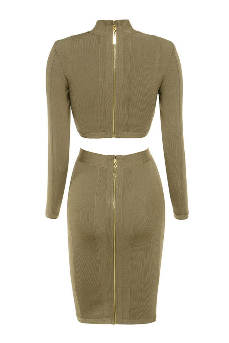 centerfold dress in khaki
