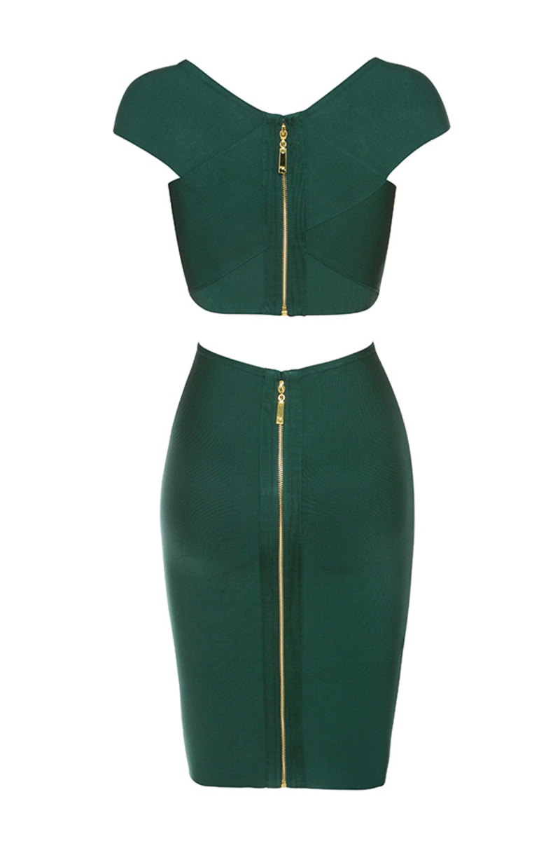 cross your heart dress in evergreen