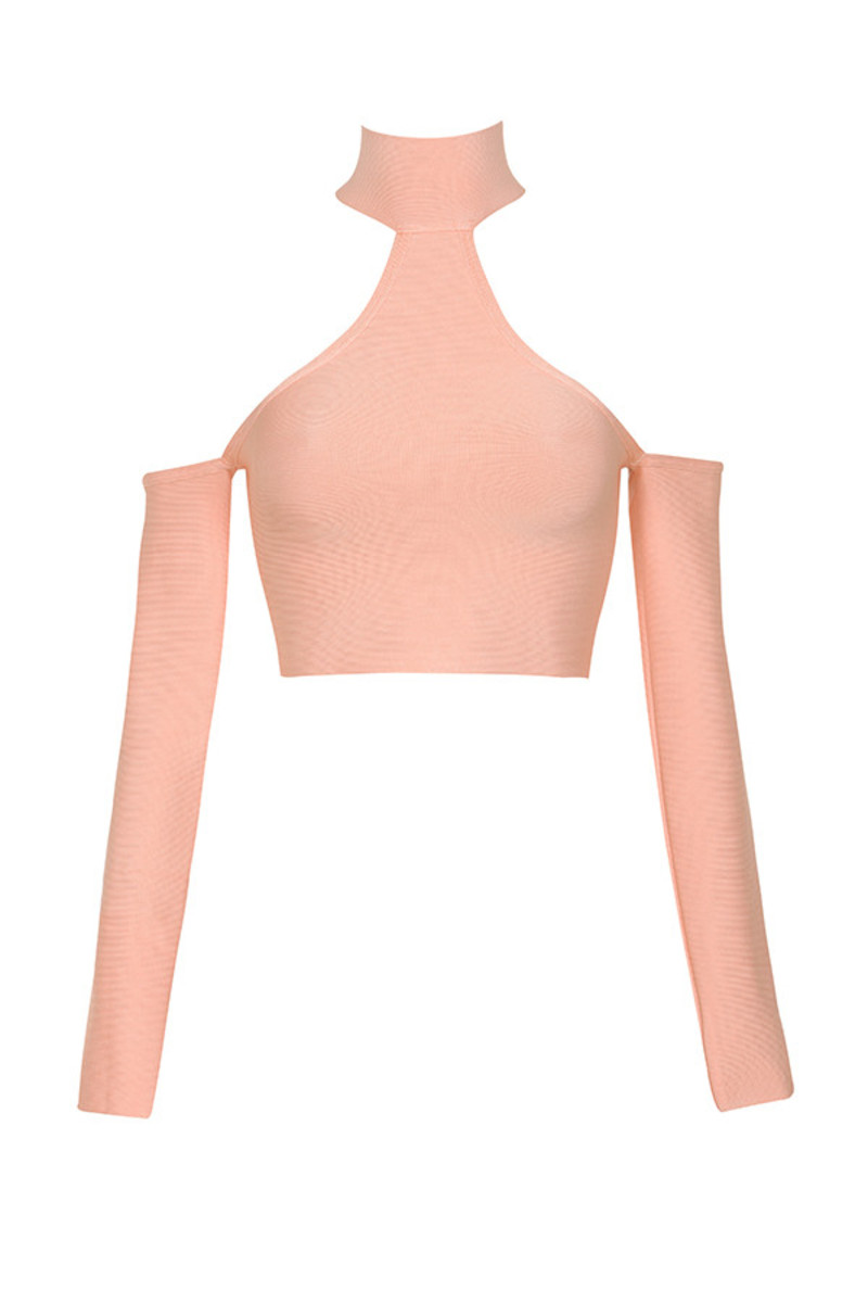 dollface bandage dress in coral