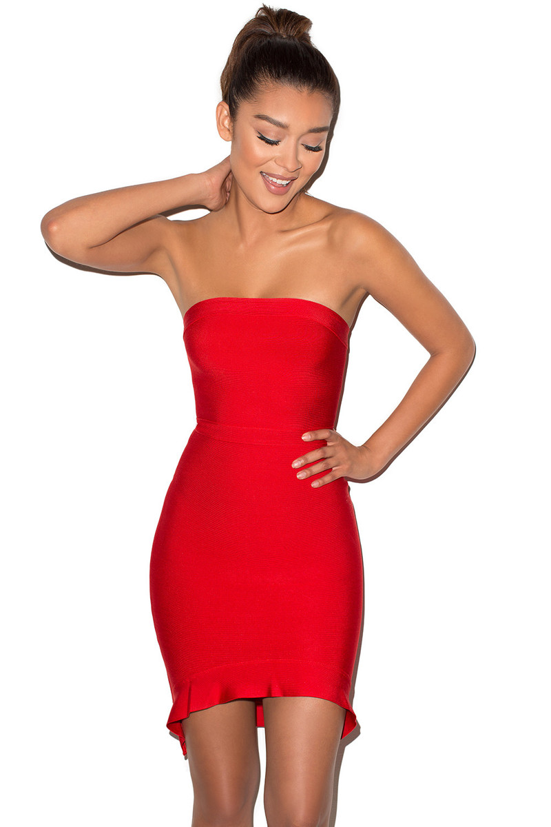 Elfin Red Strapless Fluted Hem Bandage Dress