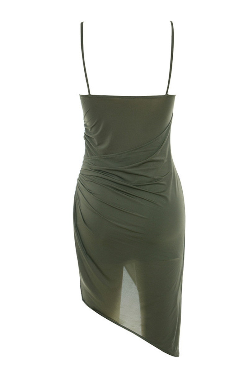 karma dress in khaki